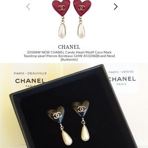 Never Worn!💄CHANEL Candy Heart Motif Pearl Drops!